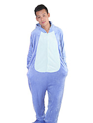 Kigurumi Pajamas Monster Leotard/Onesie Festival/Holiday Animal Sleepwear Halloween Blue Patchwork Flannel Kigurumi For UnisexHalloween /