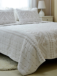 "3PC Quilt Sets Full Cotton Euro Embroidery 94""W*100""L"