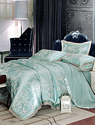 Light Blue Bedding Set Queen King Size Luxury Silk Cotton Blend Lace Duvet Cover Sets Jacquard Pattern