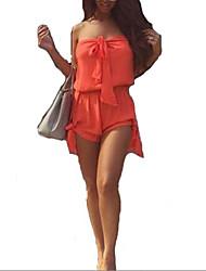 Women Summer Beach Strapless Top Sexy Short Jumpsuit Slash Neck Elastic Waist Overalls
