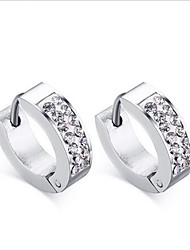 Women's Hoop Earrings Fashion European Stainless Steel Imitation Diamond Circle Star Jewelry For Party Daily Casual
