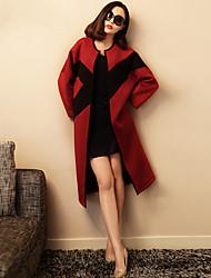 VERRAGEE® Femme Col Arrondi Manche Longues Pull & Cardigan Rouge-K012
