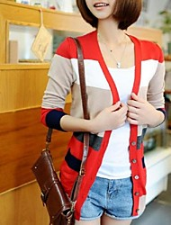 Women's Striped Blue / Red / Yellow Cardigan,Street chic Long Sleeve