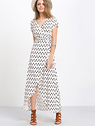 Women's Holiday Street chic Swing Dress,Polka Dot V Neck Maxi Short Sleeve White Polyester Summer