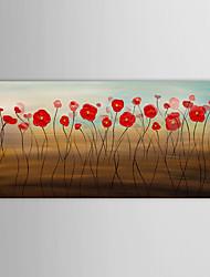 mão pintura a óleo pintado arte abstrata flor vermelha parede com moldura esticada