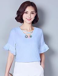 Mulheres Blusa Casual Plus Sizes / Moda de Rua Verão,Sólido Azul / Rosa / Branco Algodão Decote V Manga Curta Média
