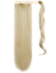 золотой 60см синтетическая высокая температура проволоки парик прямые волосы конский хвост цвет 16