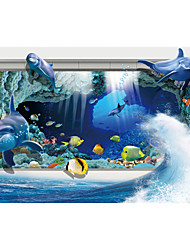 JAMMORY Art Deco Wallpaper Contemporary Wall Covering,Canvas Stereoscopic Large Mural Fish Underwater Caves Landscape