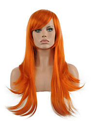 Cosplay Wig Orange Long Straight Wavy Synthetic Wig Hot Sale.