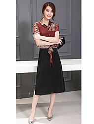 Evasê Vestido,Trabalho / Tamanhos Grandes Simples / Moda de Rua Estampa Animal Colarinho Chinês Médio Manga Curta Vermelho / Preto Algodão
