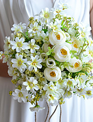 """Bouquets de Noiva Redondo Lírios Buquês Casamento Cetim Algodão Tule 9.06""""(Aprox.23cm)"""