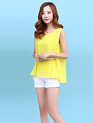 Women's Solid Blue / Pink / White / Yellow Blouse,Round Neck Short Sleeve