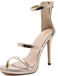 Women's Shoes PU Stiletto Heel Heels / Open Toe Sandals Dress Black / Silver / Gold