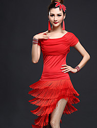 Latin Dance Outfits Women's Performance Chinlon / Nylon Irregular Tassel(s) 2 Pieces Dance Costumes