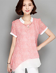 Vrouwen Patchwork T-shirt Ronde hals,Korte mouw,Polyester