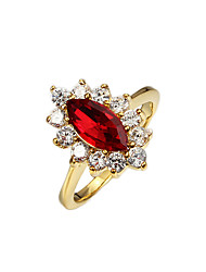 Christmas Gift lady vintage casual wedding ring wirh red stone