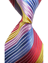 KissTies Extra Long Colorful Stripe Classic Woven Man Tie Necktie Holiday Gift