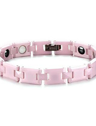 Women's Jewelry Health Care Pink Ceramic Hematite Magnetic Therapy Bracelet