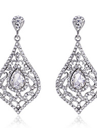 Luxury Drops Shape Cubic Zrconia Crystal Drop Earrings Jewelry for Lady(3.6*6.6cm)