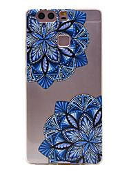 material de TPU diagonal padrão de flor caso slim telefone para Huawei p9 Lite / P9