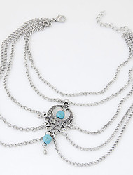 Women's New European Style Fashion Simple Retro Blue Water Droplets Bead Anklets Arm Chain