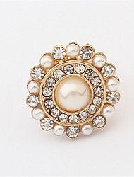 European And American Retro Style Palace Pearl Flower Ring
