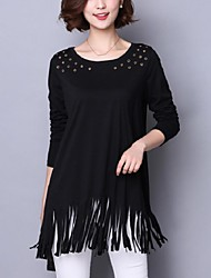 Women's Tassel Casual/Daily / Plus Size Street chic Fall T-shirt,Solid Round Neck Long Sleeve Black Cotton Medium