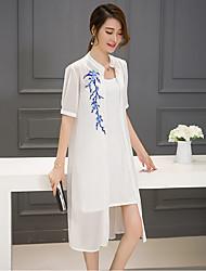 Mulheres Vestido Solto / Reto Moda de Rua Estampado Médio Colarinho Chinês Poliéster