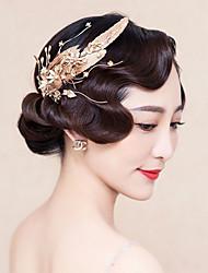 Bride's Leaves Shape Crystal Rhinestone Hair Wedding Accessories Hair Clip 1 Piece