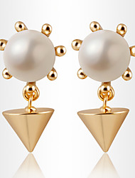 Pyramidal Geometry Pearl Earring High-grade Metal Jewelry