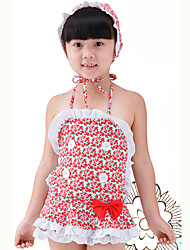 Girl's Summer  Floral Swimming Swimming Cap One-piece Bathing Suit
