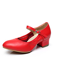 Non Customizable Women's Dance Shoes Modern Leather Chunky Heel Black / Red