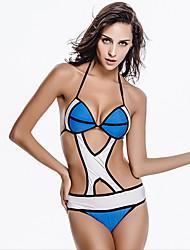 Bikini / Une-pièce Aux femmes Couleur Pleine / Coupé Licou Nylon / Spandex