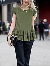 Damen Solide Einfach Lässig/Alltäglich T-shirt,Rundhalsausschnitt Kurzarm Weiß / Grün Leinen Dünn