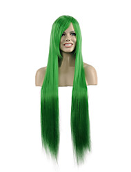 Natural Long Length Green Color Popular Straight Synthetic Wig For Woman