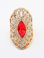 Men Rings Big Red Precious Stones Antique Silver Ring For Men Women Retro Rhinestone Ring