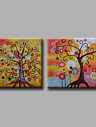 "Stretched (Ready to hang) Hand-Painted Oil Painting 48""x24"" Canvas Wall Art Modern Abstract Colorful Life Trees"