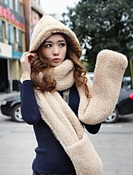Autumn And Winter Female Thickening Cute Candy Colored Scarf Scarves Hats Gloves Three-piece