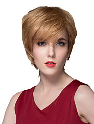 Attractive Short Soft Straight Human Virgin Remy Hand Tied-Top Capless Hair Wigs