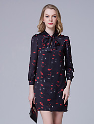 Women's Going out Street chic Shift Dress,Print Stand Above Knee Long Sleeve Black Polyester Summer
