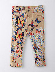 Girl's Print Pants,Cotton Summer Brown