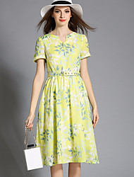 Women's Casual/Daily Street chic A Line Dress,Floral V Neck Midi Short Sleeve Green Polyester Summer