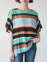 Women's Casual/Daily Simple / Street chic Summer Blouse,Striped Round Neck ½ Length Sleeve Blue / Pink Rayon Thin