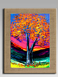 Oil Painting Modern Abstract Lucky Tree Set of 1 Hand Painted Natural linen with Stretched Fram