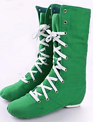 Non Customizable Women's Dance Shoes Canvas Canvas Jazz Boots Flat Heel Practice / Beginner Green