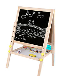Wooden Double Elevating Magnetic Drawing Board, 2.9 KG Adjustable Height, Children Drawing Board