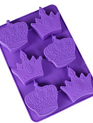 6 Hole Silicone Crown Cake Chocolate Soap Pudding Jelly Candy Ice Cookie Biscuit Mould Pan Random Color