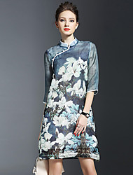 Women's Vintage Print Loose / Shift Dress,Stand Above Knee Polyester