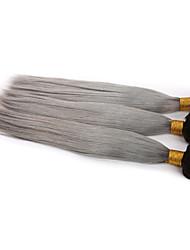 3 Stücke / Los ombre grau gerade reine Menschenhaar spinnt zwei Töne brasilianische Menschenhaarverlängerungen gerade