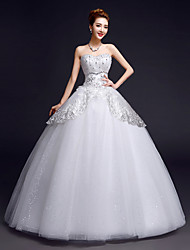 Ball Gown Wedding Dress Floor-length Sweetheart Lace / Satin / Tulle with Beading / Sequin